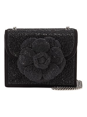 Oscar de la Renta Mini TRO Crystal Suede Crossbody Bag