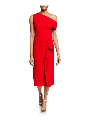 Oscar de la Renta One-Shoulder Ruffle Trim Dress