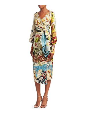 Oscar de la Renta printed silk wrap dress