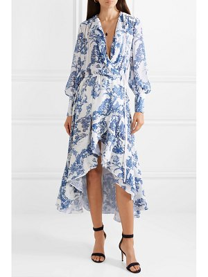 Oscar de la Renta ruffled devoré-chiffon wrap midi dress