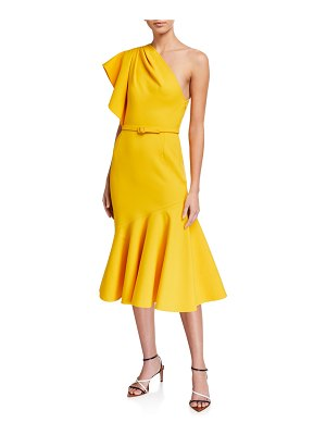 Oscar de la Renta Ruffled One-Shoulder Crepe Dress
