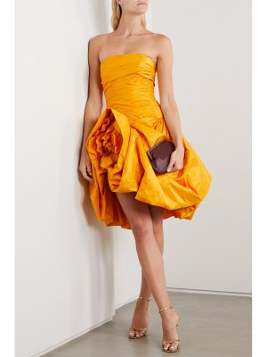 Oscar de la Renta strapless draped silk-taffeta mini dress