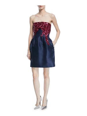 Oscar de la Renta Strapless Fit-and-Flare Silk Faille Cocktail Dress with Sequins