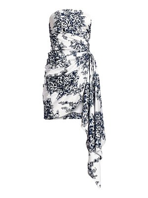 Oscar de la Renta strapless floral sash mini dress