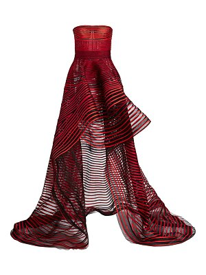 Oscar de la Renta striped strapless high-low gown