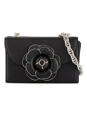 Oscar de la Renta Tro Flower Leather Crossbody Bag - Silver Hardware
