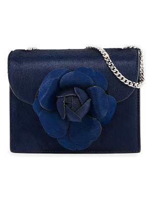 Oscar de la Renta Tro Mini Calf Hair Crossbody Bag with Flower