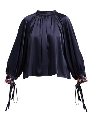 OSMAN Floral Bead Embroidered Satin Blouse