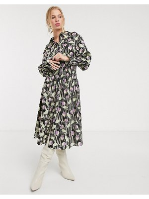 Other Stories &  abstract floral shirred waist midi dress in multi-purple