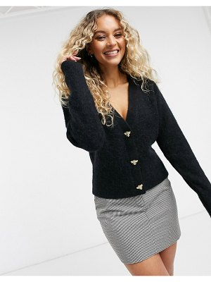 Other Stories &  bee button front cardigan in black