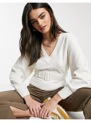 Other Stories &  belted balloon sleeve sweater in off white