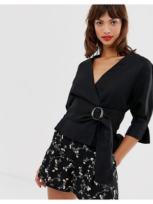 Other Stories &  belted linen blend blouse in black