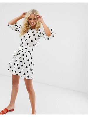 Other Stories &  belted polka dot mini dress in black and white-multi