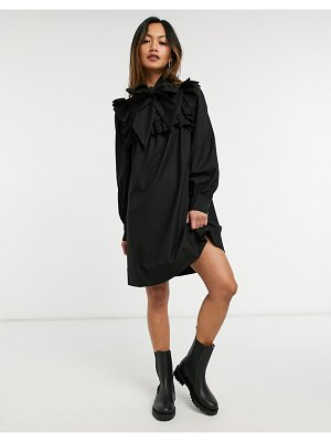 Other Stories &  collar detail long sleeve mini dress in black