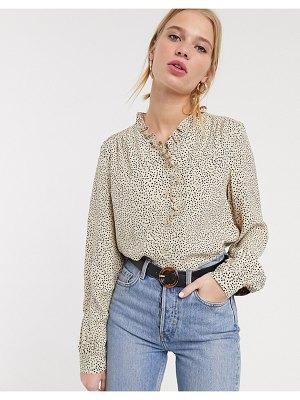 Other Stories &  confetti dot ruffle-edge blouse in beige