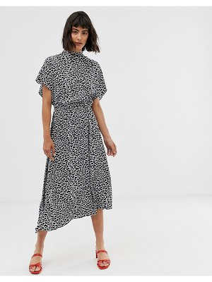 Other Stories &  cracked print midi dress in black-multi