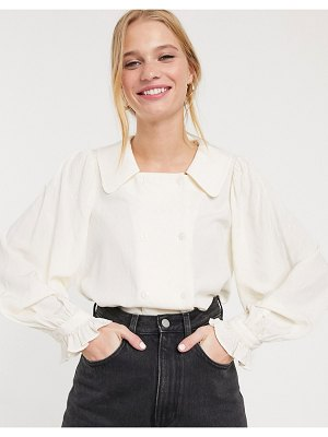 Other Stories &  double breasted cuffed sleeve blouse in off-white-cream