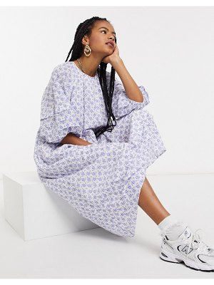 Other Stories &  eco floral print smock maxi dress in white