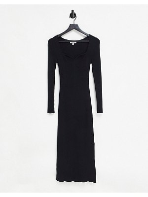 Other Stories &  eco knit midi dress with sweetheart neckline in black