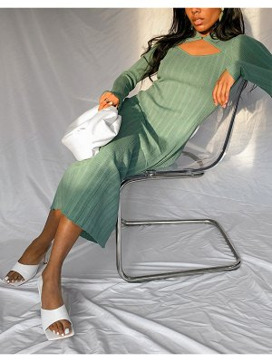 Other Stories &  eco ribbed knit cut-out maxi dress in green