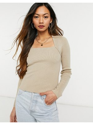 Other Stories &  ecovera square neck knit top in beige-brown