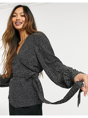 Other Stories &  ecovero dot print long sleeve wrap blouse in black-multi