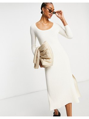 Other Stories &  ecovero long sleeve knit midi dress in off-white