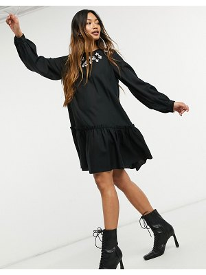 Other Stories &  embroidered detail mini smock dress in black