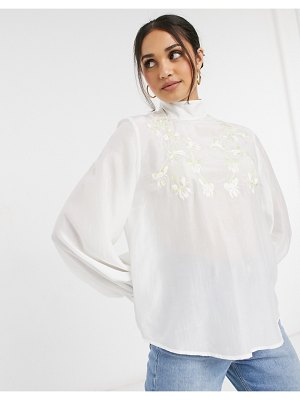 Other Stories &  floral embroidered blouse in cream-white
