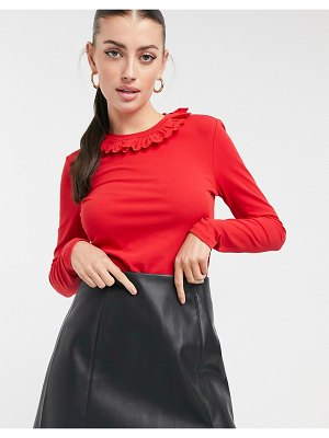 Other Stories &  frill neck long sleeve top in red