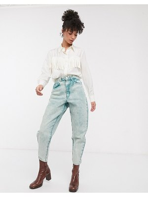 Other Stories &  fringe detail silky shirt in off-white