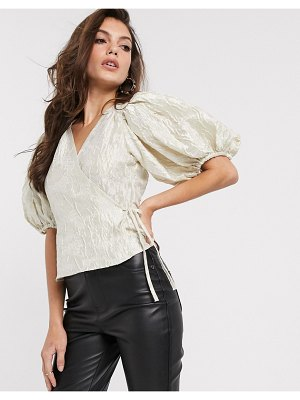 Other Stories &  jacquard puff sleeve wrap blouse in off-white-gray