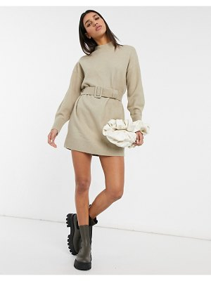 Other Stories &  knit belted mini dress in beige