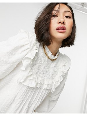 Other Stories &  lace embroidered blouse in white