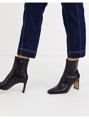 Other Stories &  leather almond toe high heel ankle boots in black