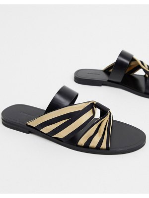 Other Stories &  leather and fabric striped flat sandals in black