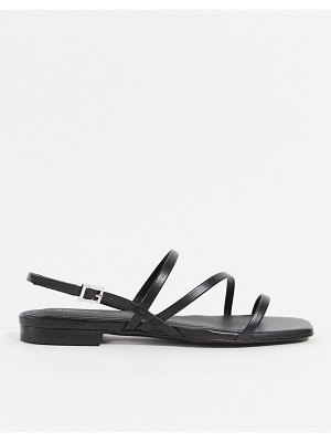 Other Stories &  leather fine strap flat sandals in black