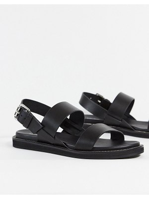 Other Stories &  leather flat sandal with buckle in black