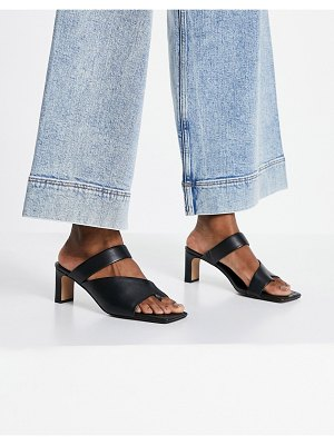 Other Stories &  leather heeled sandals with toe post in black
