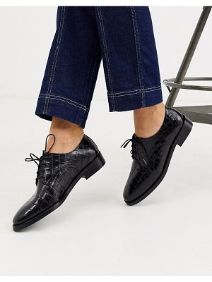 Other Stories &  leather mock croc brogues in black