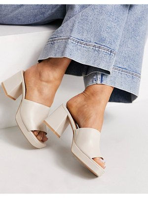 Other Stories &  leather platform heeled mules in beige-neutral