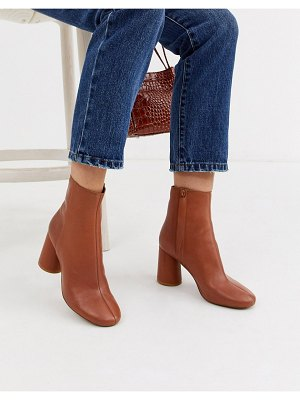 Other Stories &  leather round toe ankle boots in tan-brown