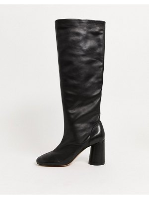 Other Stories &  leather round toe knee high boots in black