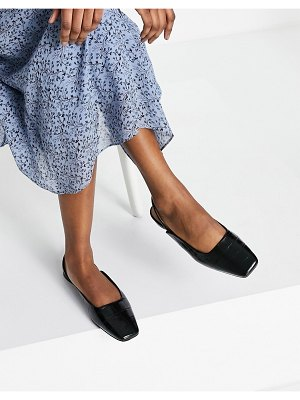 Other Stories &  leather square toe flat sling back shoes in black