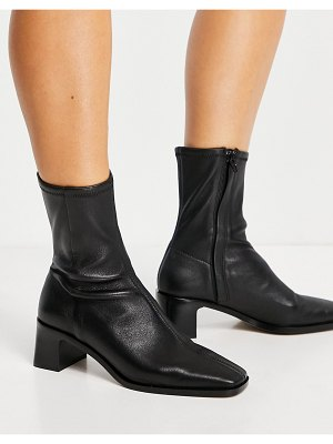 Other Stories &  leather square toe heeled boots in black
