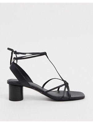 Other Stories &  leather square toe sandal with round heel in black