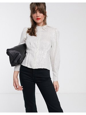Other Stories &  metallic stripe puff sleeve high-neck blouse in white