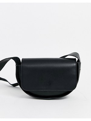 Other Stories &  mini leather saddle bag in black
