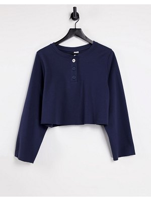Other Stories &  organic cotton long sleeve lounge top in navy
