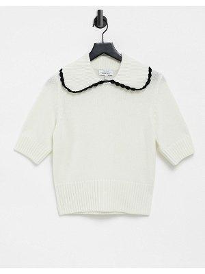 Other Stories &  oversized collar short sleeve knitted top in dusty green